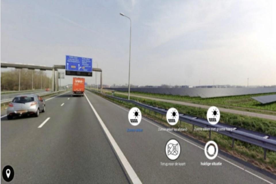 Impressie van zonnepanelen tussen de A9 en de Boekelermeer.