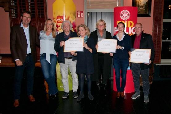 Rotary Huizen steunt drie goede doelen met elk 5000 euro: Stichting KinderBeestFeest, Voedselbank Gooi en Omstreken en Stichting Huizer Botters