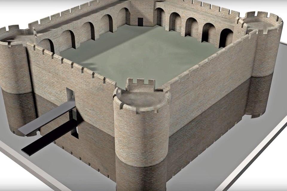 Reconstructie van de hoofdburcht van Oud-Haerlem.