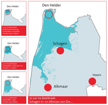 Bij een watersnoodramp in Noord-Holland binnen een halve dag 1500 doden