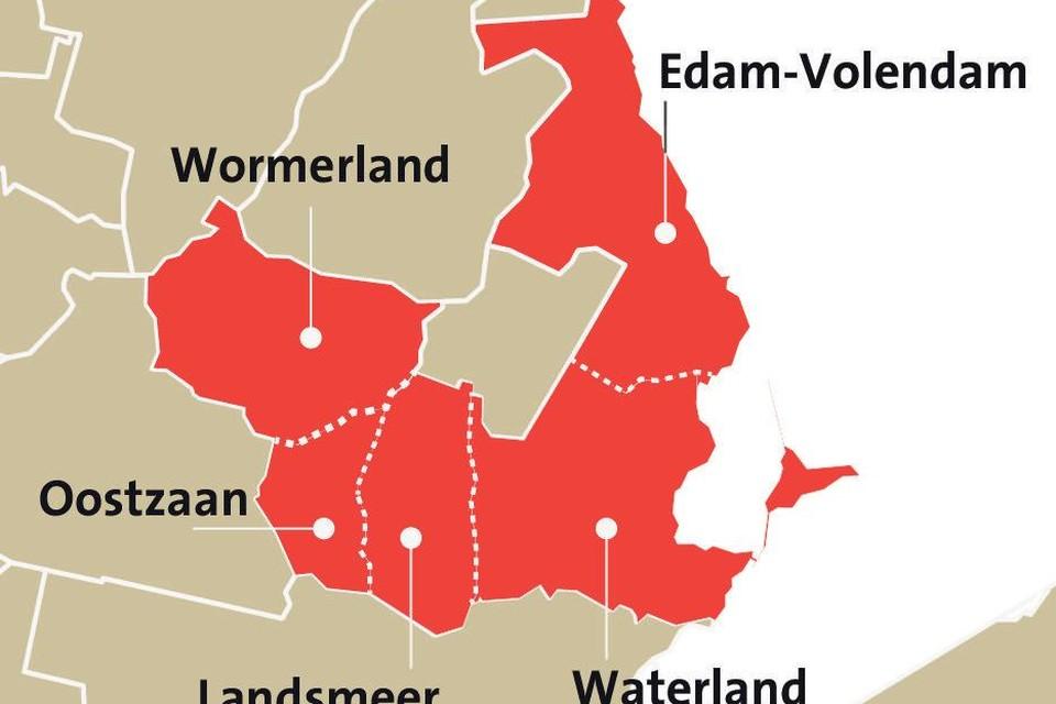 Wormerland en gemeenten waarmee mogelijk kan worden samengewerkt.