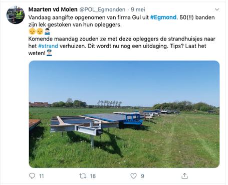 Vijftig banden zijn lek gestoken van opleggers van ondernemer Mart Gul en daardoor kan hij geen strandhuisjes het strand oprijden