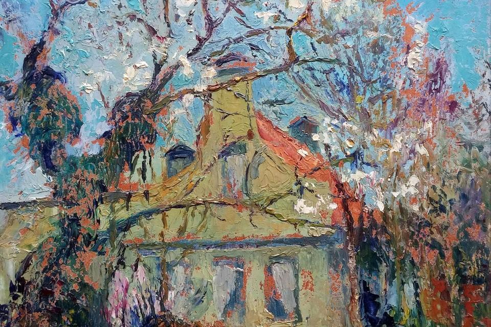 Huis met bloesemboom van kunstenaar Willem Jansen uit Westzaan.