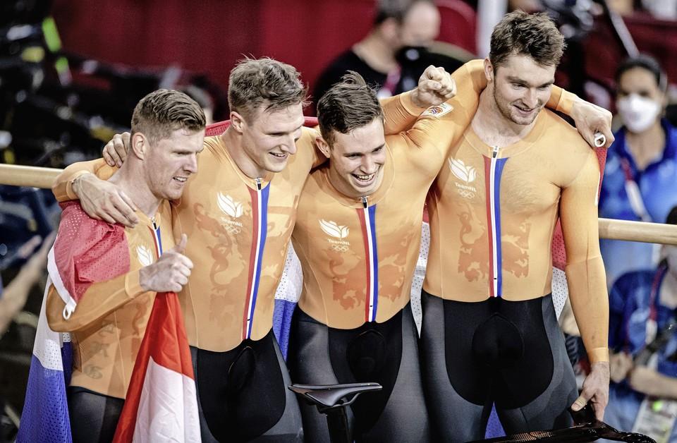 Roy van den Berg, Jeffrey Hoogland, Harrie Lavreysen en Matthijs Buchli.
