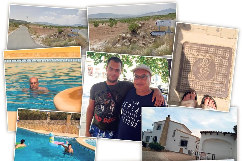 Foto's van de waarschijnlijk laatste vakantie in Spanje van de Noord-Hollandse familie van Charly. Rechtsonder de villa waarin het gezin verbleef. De Engelse familie had ook een huis op het resort. Herkenbaar in beeld: Charly's vader Marco en oudste broer Mark.