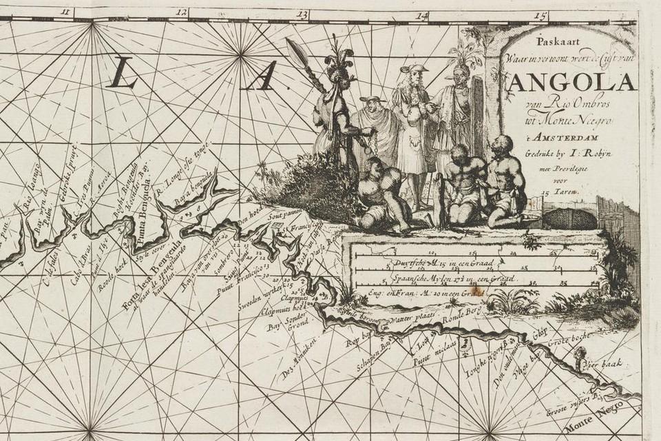 Een kaart van Angola, waar slaven werden gekocht.