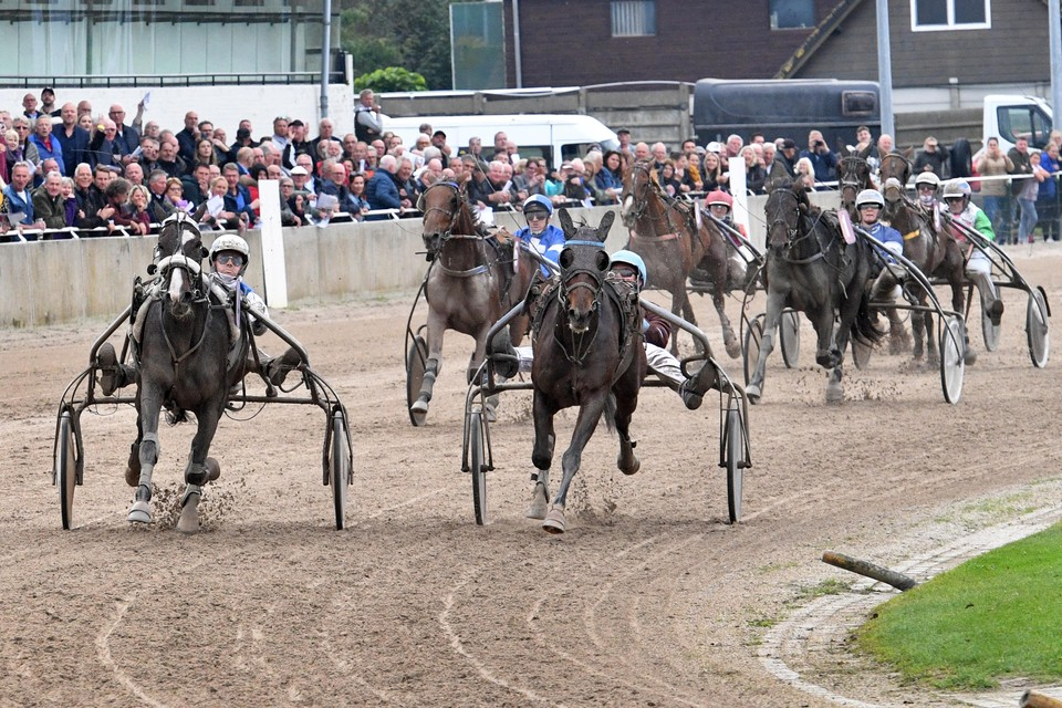Strijd op de Alkmaarse drafbaan, met links de latere winnaar Echo Oldeson.