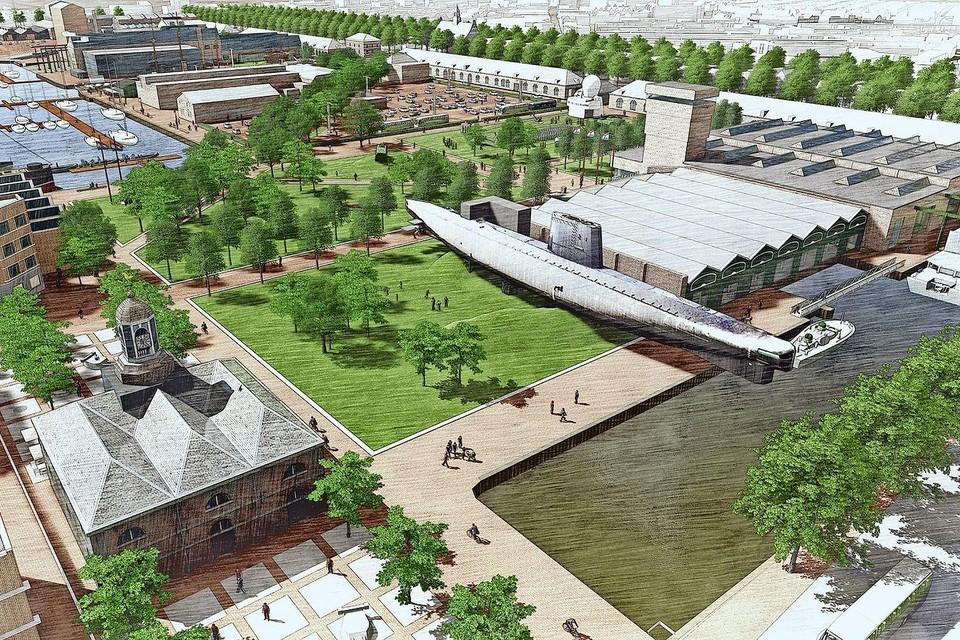 Het plan voor vergroening van Willemsoord zoals het twee jaar geleden werd gepresenteerd.