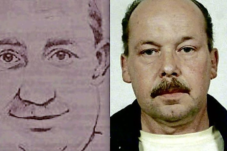 Compositietekening (onder) en de politiefoto van Michel Stokx.