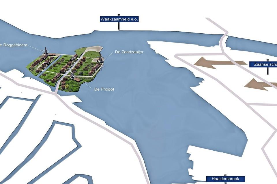 Zo ziet de Hemmesgroep een woonwijk met drie molens voor zich. De gemeente wil tot nu toe slechts één molen toestaan.