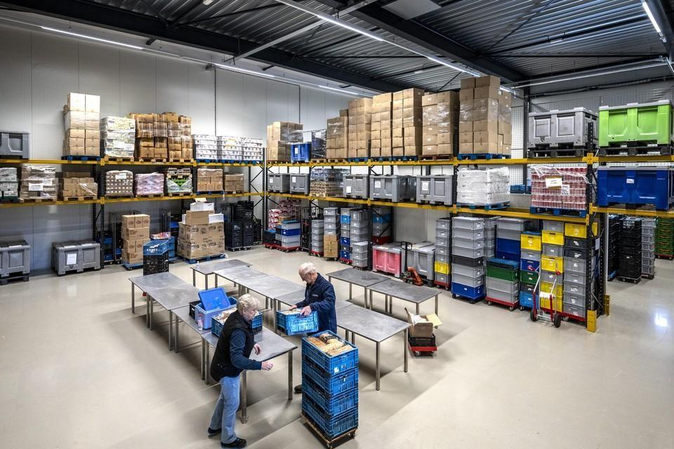 Het magazijn van Voedselbank Haarlemmermeer.
