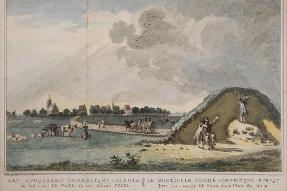 Het afgraven van de Sommeltjesberg zoals Pieter van Cuyck zich dat in 1779 voorstelde.