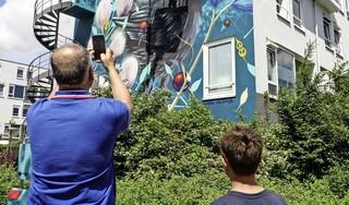 Graffitikunstenaar rondt kunstwerk op vier gevels af; Intermaris: 'Huurders hebben ons al gebeld en gemaild, dat ze ook wel zo'n mooie muurschildering willen' [video]