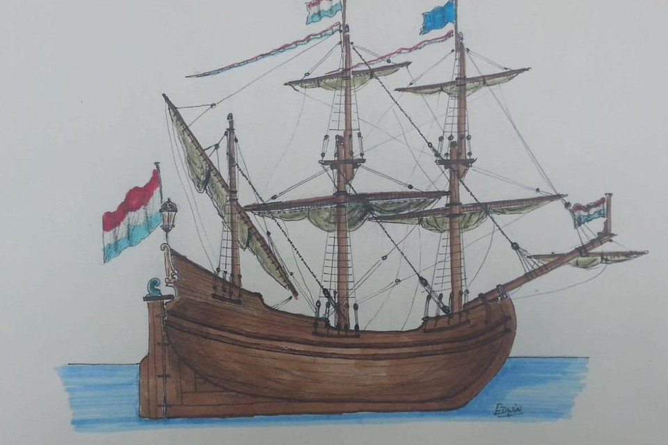 Een van de studietekeningen die Edwin ter Velde maakte voor het fluitschip dat in Hoorn wordt gemaakt.