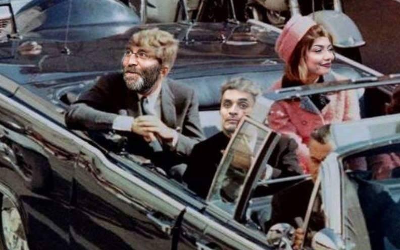Montagefoto met actievoerders Rogier Meijerink, Christa Soeters en voorin de auto van president Kennedy Michael van Zeijl.