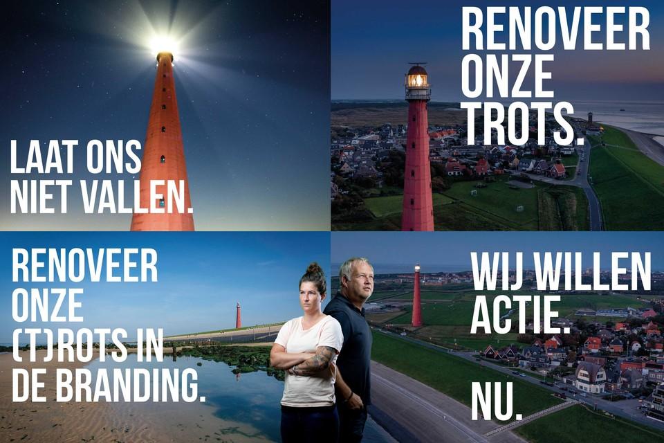Een compilatie van de protestkaarten, met in het midden bedenkers Liza Hendriks en Peter van Aalst.
