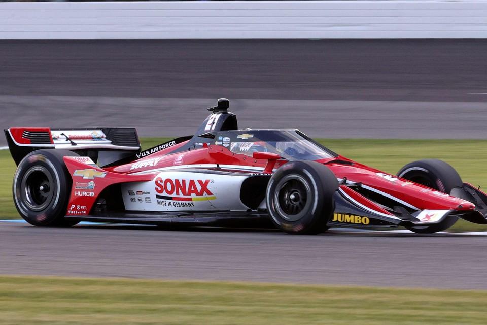 Rinus van Kalmthout in zijn IndyCar van Ed Carpenter Racing.