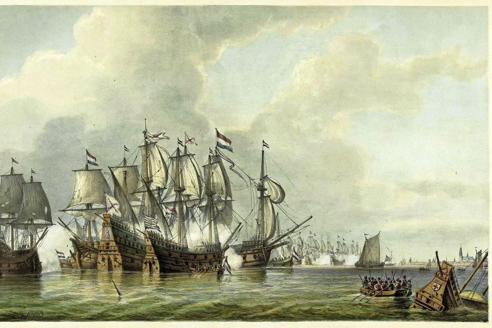 De slag op de Zuiderzee tegen Bossu in 1573. Geschilderd door Petrus Johannes Schotel. In het midden vuren de schepen op elkaar, op de voorgrond een sloep en een zinkend schip. Rechts in de verte Enkhuizen.