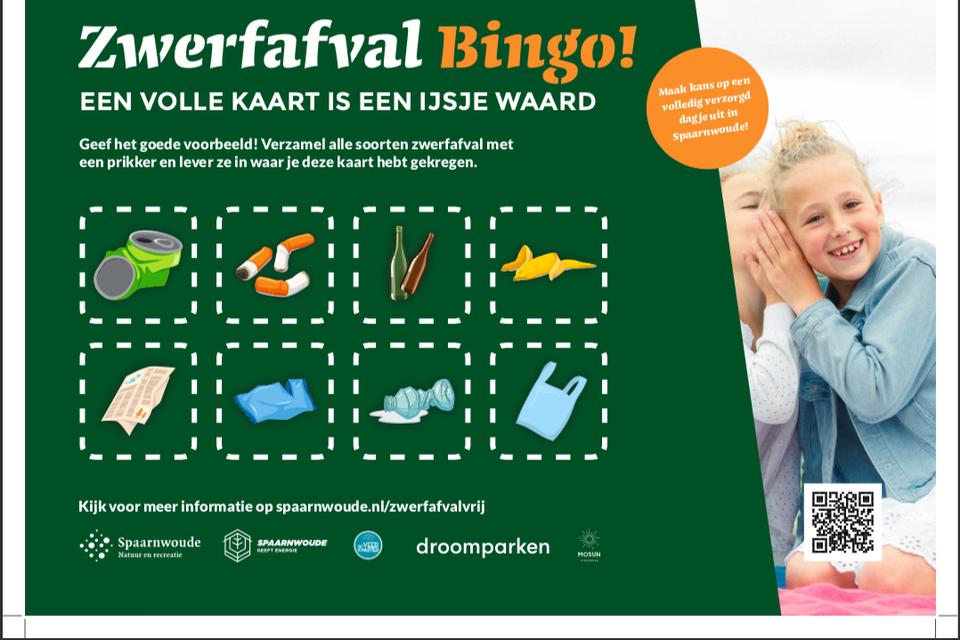 de bingokaart met verschillende soorten afval