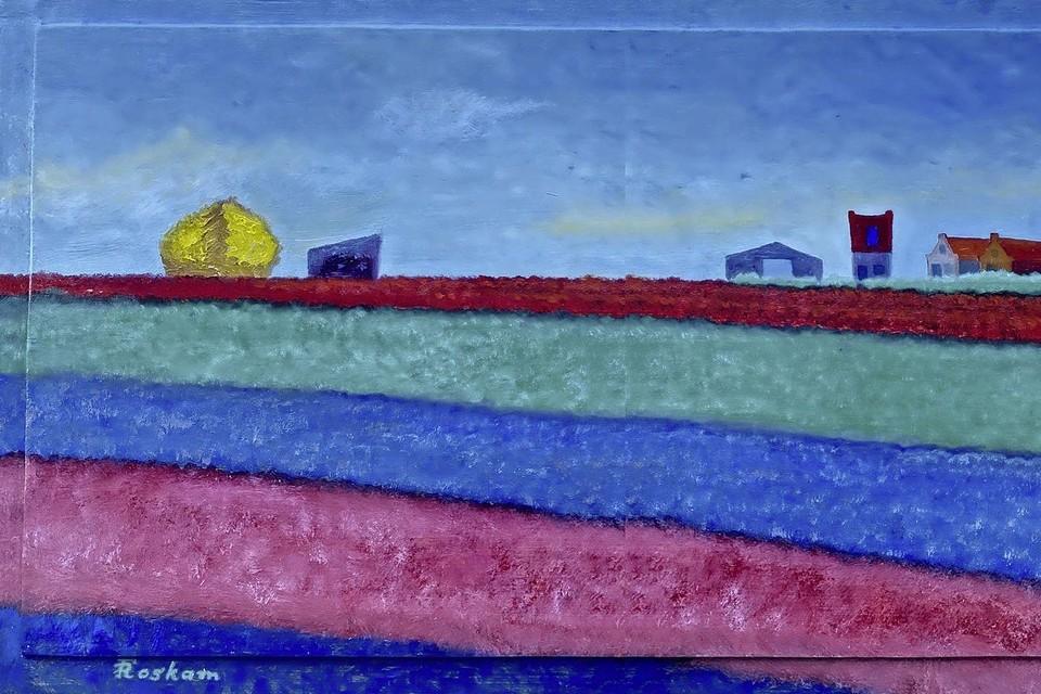 Fred Roskam schilderde 'Bollenveld met schuur'. Daarbij heeft Pieter van der Kooij een gedicht 'Samenkleur' gemaakt. Te zien in de Grote Kerk.