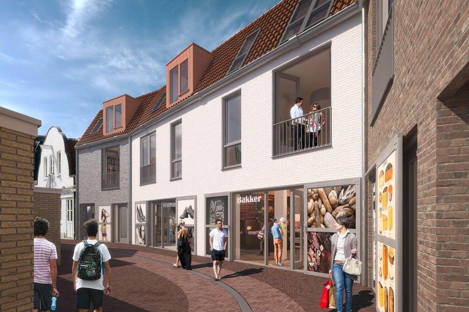 Impressie van de nieuwbouw aan de Kantoorstraat.