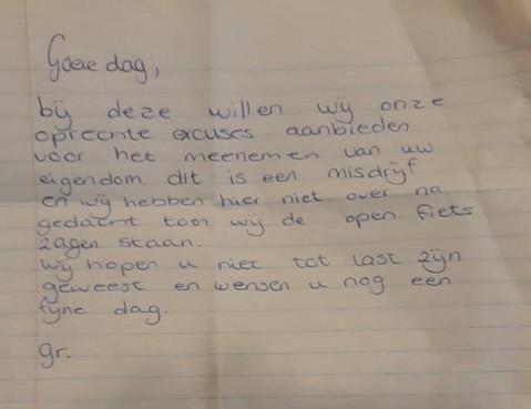 Excuusbrief voor stelen fiets in Wormverveer: 'We hopen u niet tot last te zijn geweest'