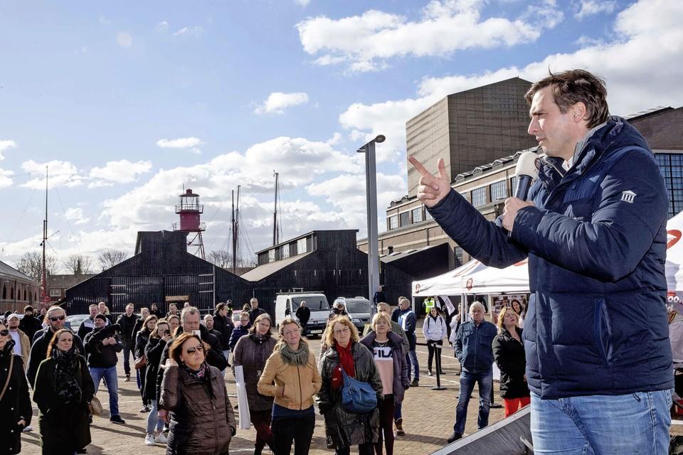 Thierry Baudet eerder dit jaar tijdens een verkiezingsbijeenkomst op Willemsoord.