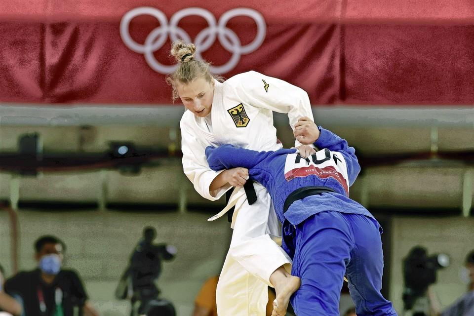 De Duitse Martyna Trajdos in actie tijdens de Spelen.