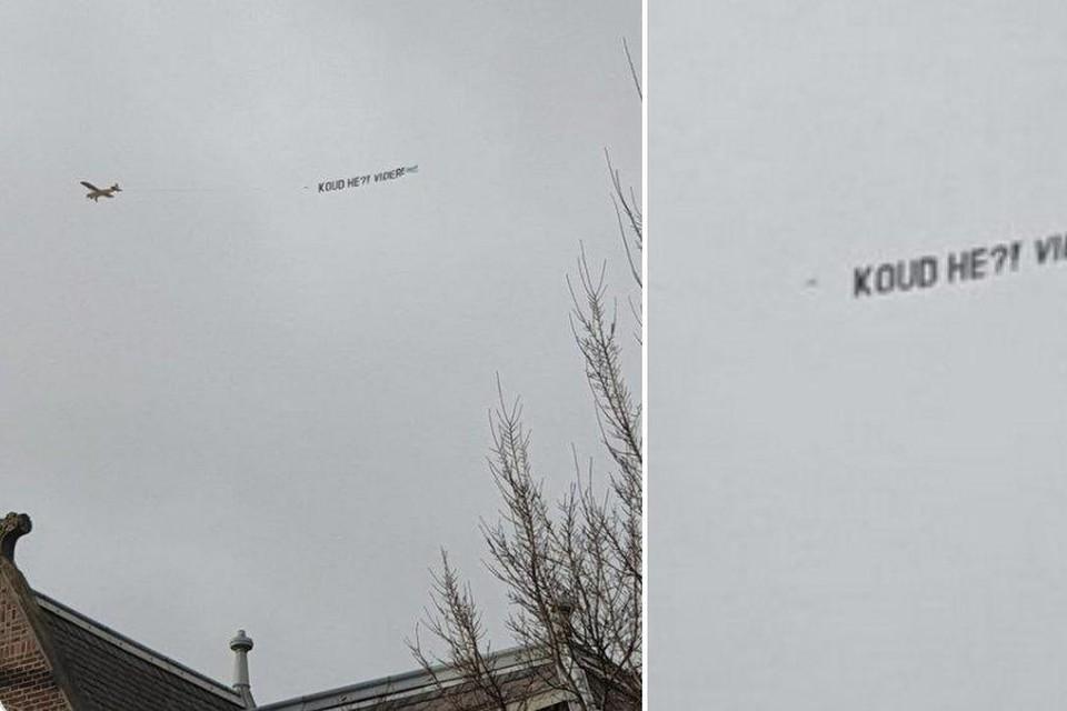 Het 'gekaapte' vliegtuigje boven het Museumplein.