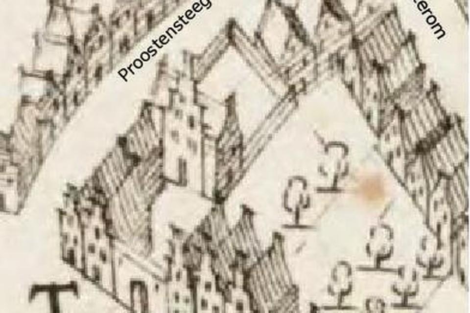 Detail uit een kaart van Velius uit 1615, met het grote Proostenhuys centraal, naast de naam Proostensteeg. De muur met rondboogpoortje aan het plein is later vervangen door het huidige smeedijzeren hek