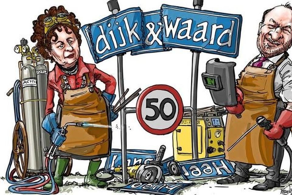 De burgemeesters van beide gemeenten bij het bord van Dijk en Waard.