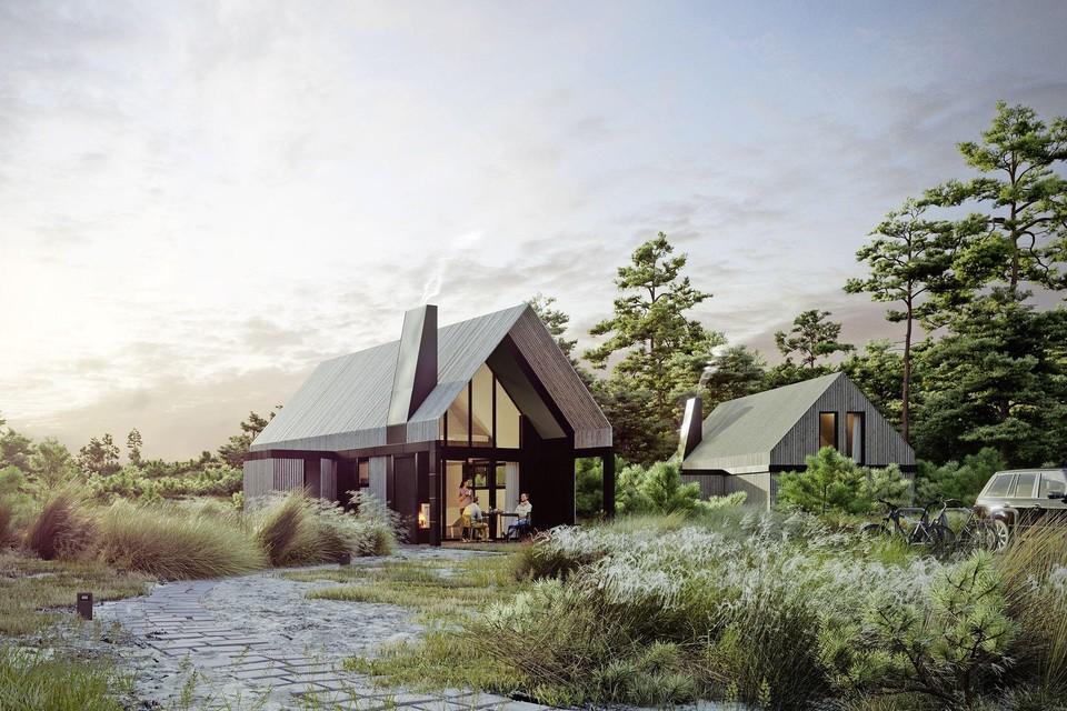 Artistieke impressie van lodges te bouwen op park Sanduyn in Schoorl.