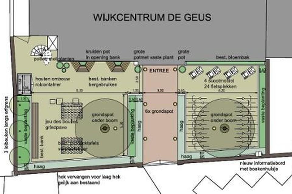 Een schets van het nieuwe plein bij De Geus.