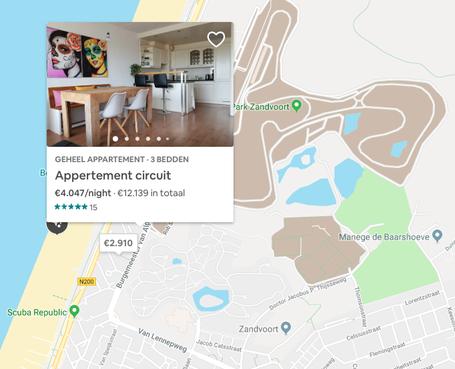 Kamers in Zandvoort tijdens Formule 1: gewild en prijzig, 1000 euro per nacht is geen uitzondering