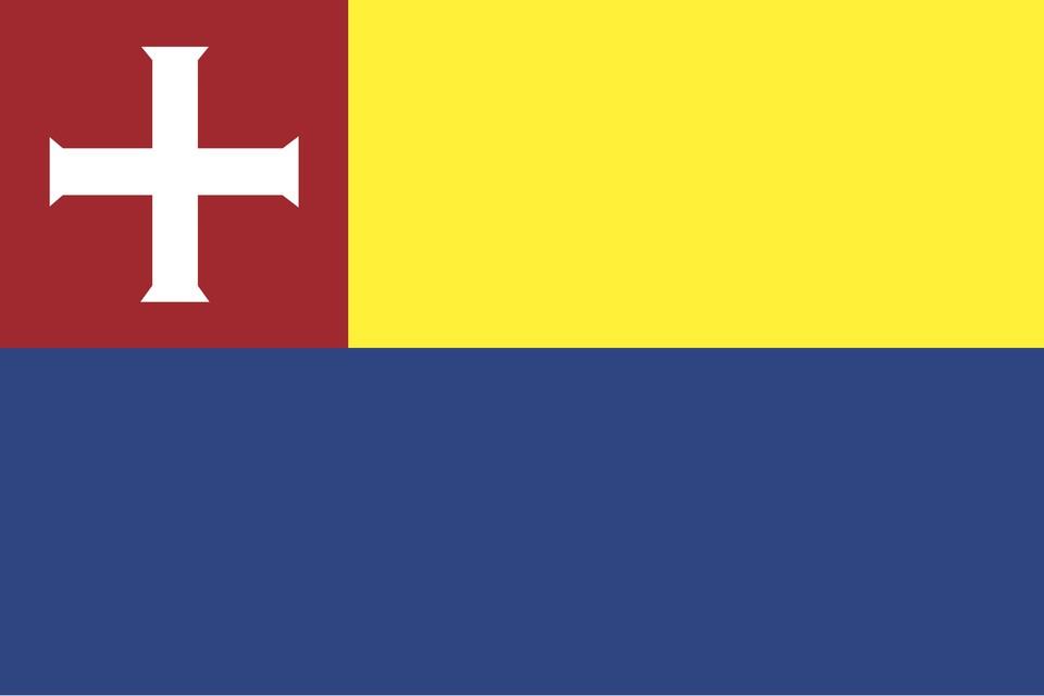 De vlag van Heiloo, met het wapen (wit kruis op rood schild) en geel en blauw, de kleuren van Willibrordus.
