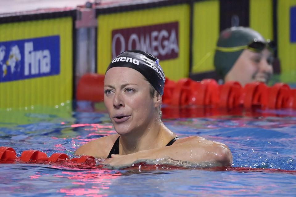 Kira Toussaint na één van haar succesvolle races bij de worldcup in Boedapest.