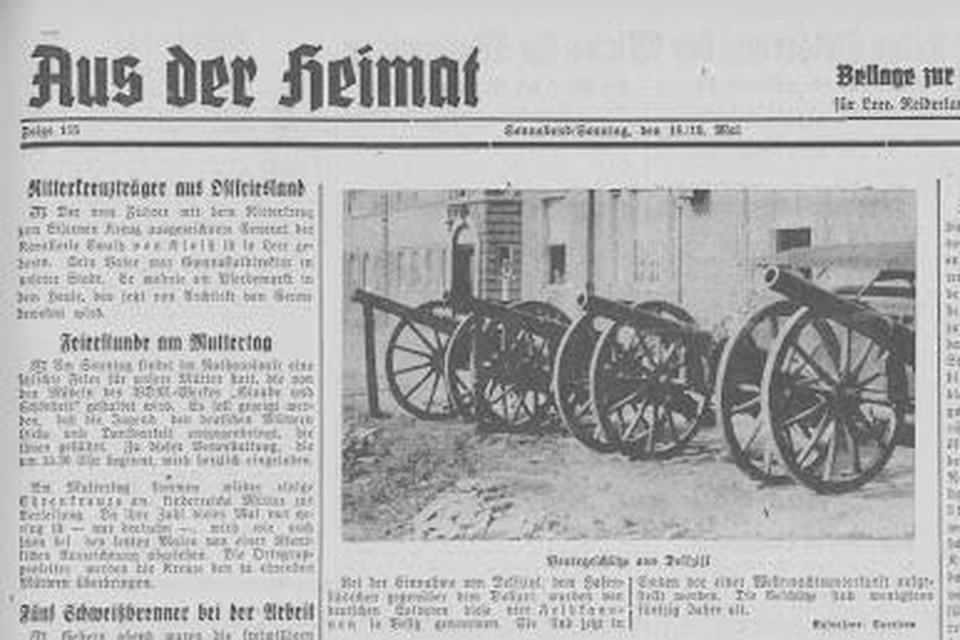 Een bericht in de Duitse krant over de kanonnen.