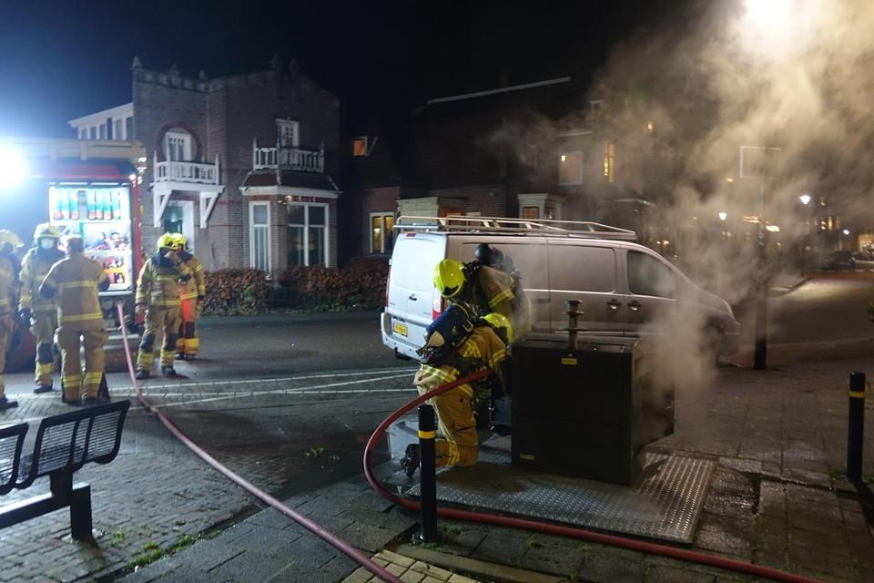 Brand in een ondergrondse container.
