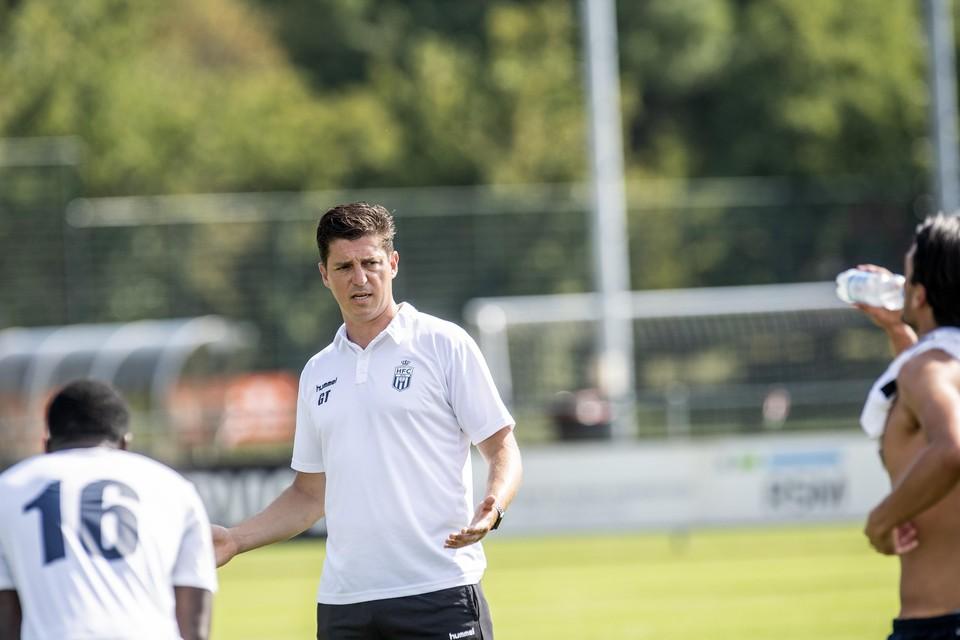 Trainer Gertjan Tamerus van Koninklijke HFC in de rust van het oefenduel tegen Jong FC Volendam