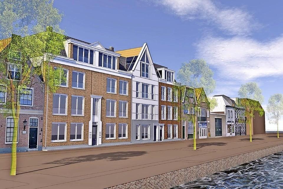 Een deel van bouwplan De Vijfhoek, het gevelaanzicht aan de Beemsterburgwal.