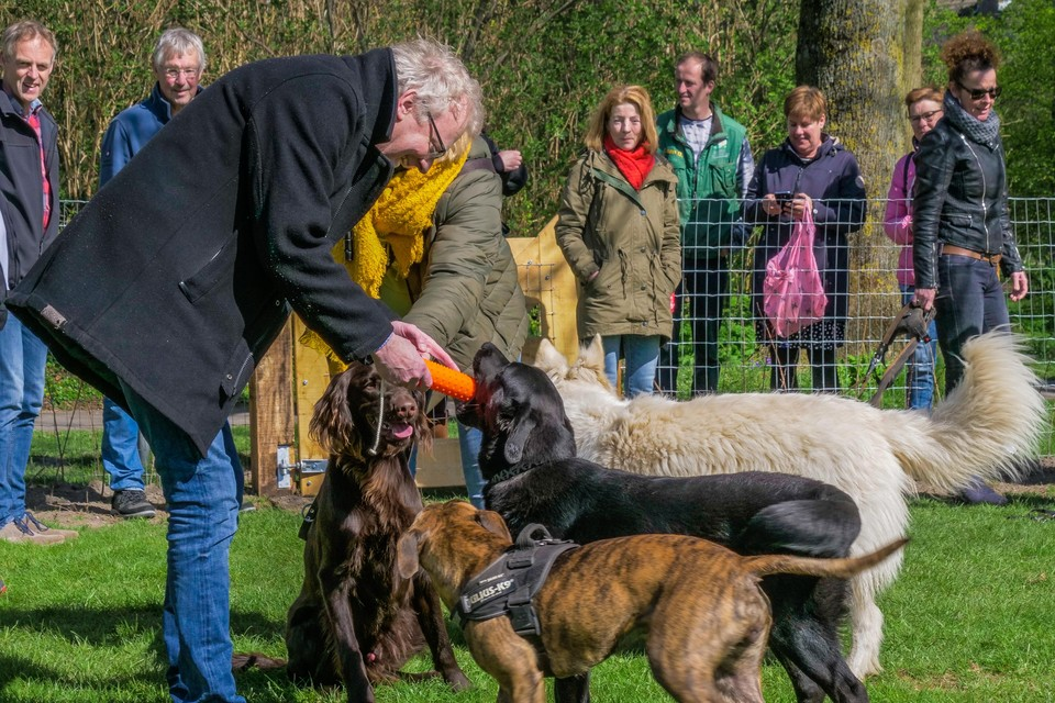Wethouder Hans Heddes en enkele bezoekers openen het gloednieuwe omheinde hondenveldje in de Schagense wijk Waldervaart, waar honden los kunnen lopen en spelen in een veilige omgeving