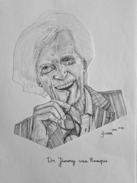 Portret van Jimmy van Rompu, getekend door Jan Visser.