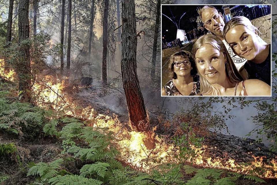 De bosbranden teisteren de Turkse kust. Het gezin (inzet) weet zaterdagvond hun hotel te ontvluchten.