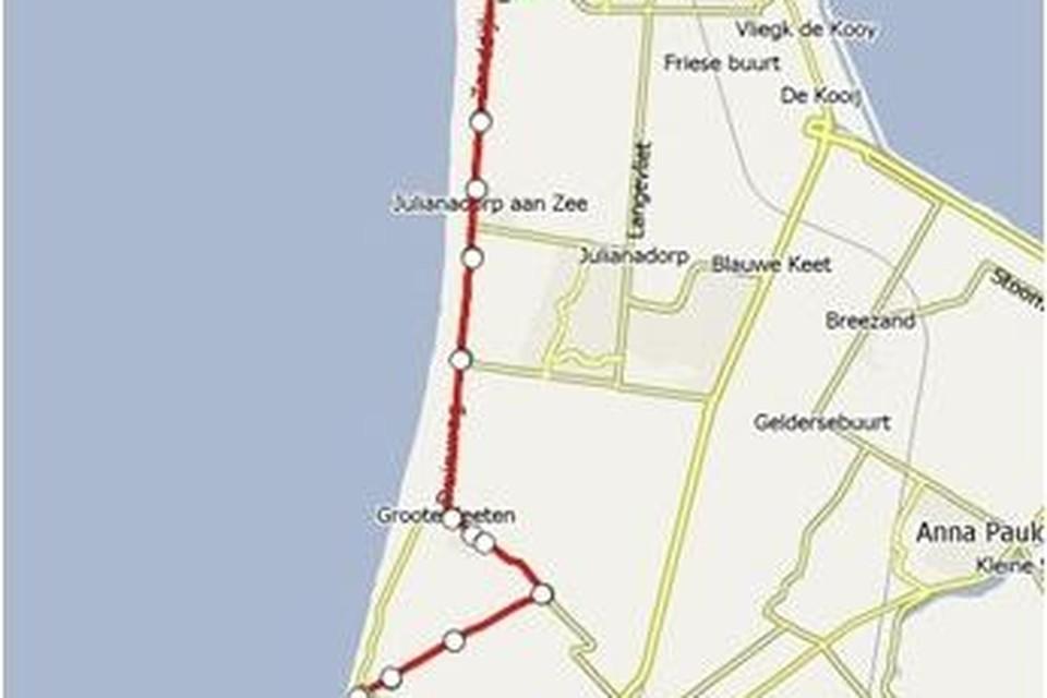 De route die de kustbus tussen Petten en Den Helder zal afleggen.