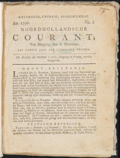 Eerste Alkmaarsche Courant uit 1799 nu digitaal bij het Regionaal Archief Alkmaar