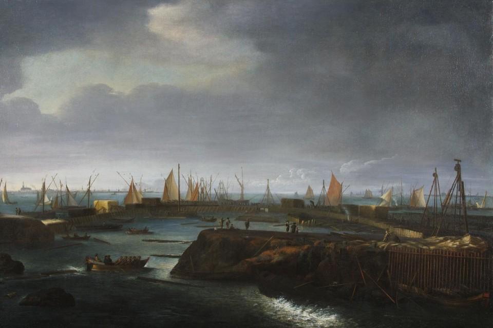 """Het herstelwerk is afgebeeld op het schilderij 'De Zuiderzeedijk bij Shardam"""", door Matthias Withoos."""