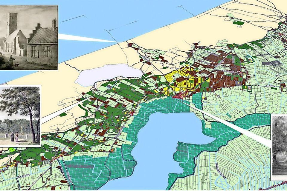 De interactieve HisGis-kadasterkaart met bijbassende locatie-afbeeldingen van rond 1800.
