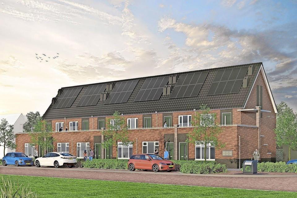 De twaalf appartementen van Bloecwere Sûd ogen als een blok rijwoningen.