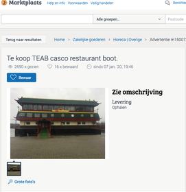 Te koop via Marktplaats: restaurantboot uit Den Helder met 1200 vierkante meter dekruimte, wel zelf ophalen