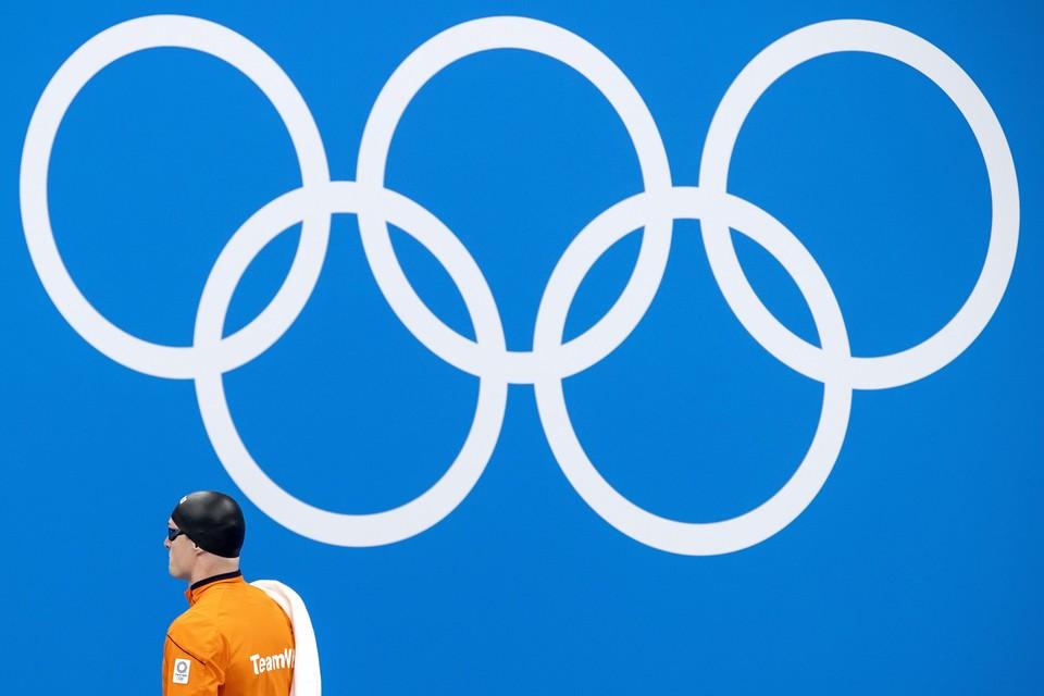 Thom de Boer in de finale 50 meter vrije slag in het Tokyo Aquatics Centre op het olympisch zwemtoernooi.